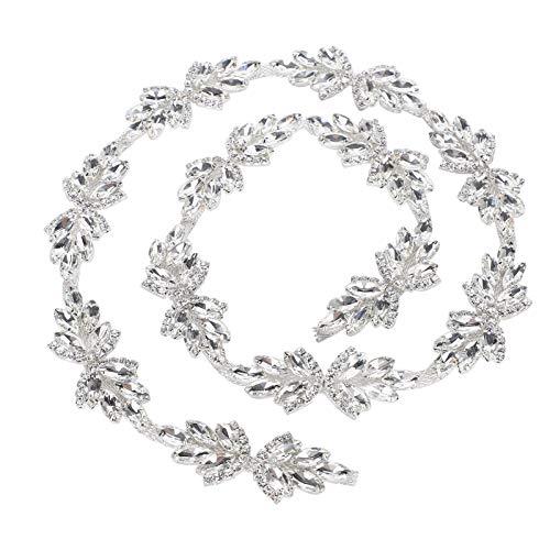 Oumefar 1yd Crystal Trim Cadena Decorativa Artesanía de Coser Cadena de Diamantes Artificiales Cinturón para decoración de Bodas(Vidrio Blanco de 3cm de Ancho)