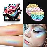FantasyDay Pro 7 Colors 3D Baked Rainbow Highlighter Eyeshadow Makeup Palette Cosmetic Blusher Shimmer Powder Contouring Kit Unicorn Blush #1