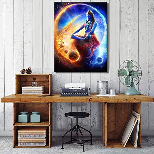 YuanMinglu Hauptwanddekoration Leinwand Kunstplakat und gedruckte Leinwand Bild Indischer Gott Meister Wohnzimmer Wandbild rahmenlose Malerei 60x80cm