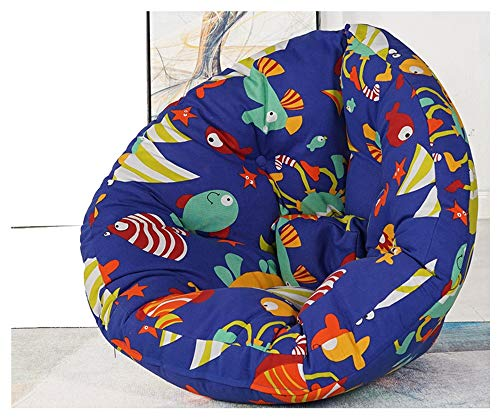 XinQing-Lazy Sofa Cute Pattern Lazy Couch Bean Bag Bedroom Living Room Bay Window Comfortable Casual Simple Back Seat Tatami Large Trumpet (Color : Fish Pattern, Size : L)