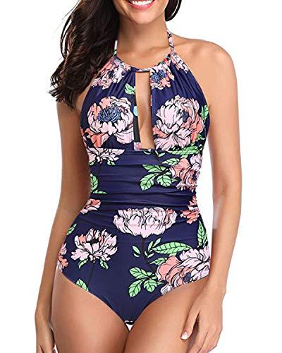Kisslace, costume da bagno da donna, sexy, push up, con allacciatura al collo, vacanza sulla schiena, monokini a fascia, costume intero 79015 lilla. M