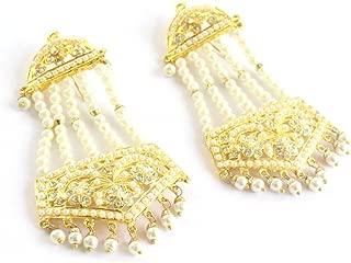 Indian Wedding Bollywood Jadau Jhoomer Traditional Ethnic Punjabi Muslim Earrings