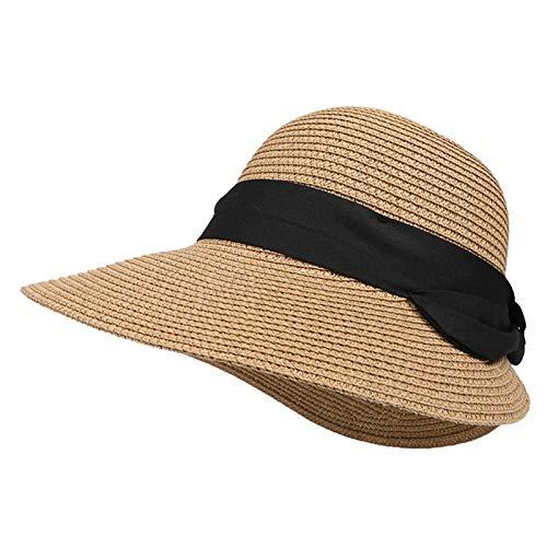 Hengjierun Sombrero De Paja De Playa Sombrero De Verano De Viaje UV Sombrero De Sol De ala Ancha para Mujer, Sombrero De Sol Plegable Plegable Sombrero De Paja Ajustable De ala para Damas