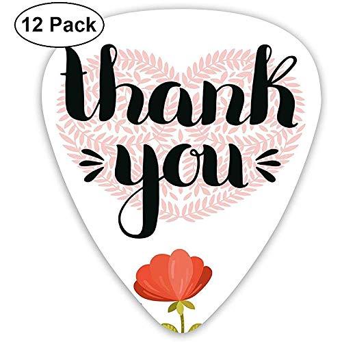 Gitaar Picks 12-Pack,Hart Gemaakt Met Mooie Blauwe Tak Bloemen En Botanische Planten Illustratie