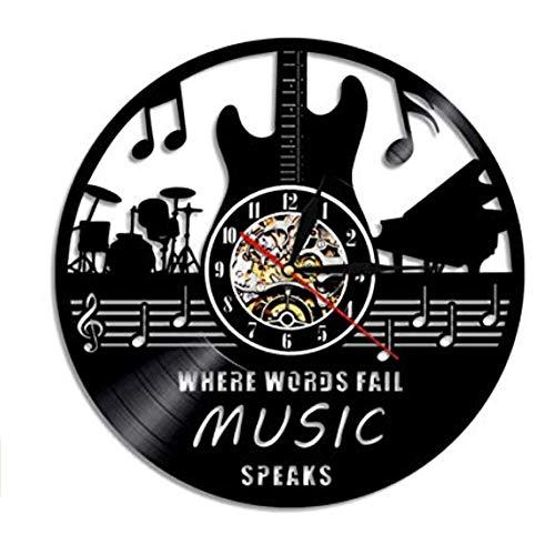 Lyy Instrumentos Musicales Guitarra Batería Banda Lámpara de Pared Hecha A Mano Decoración para El Hogar Decoración de Pared Led Vinilo Disco Nightlight Reloj
