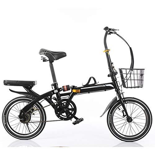 KXDLR Opvouwbare fiets, 16 inch, bestand tegen stoten op de weg, anti-banden, voor mountainbike, mannen en vrouwen, volwassenen, zwart