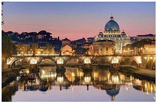 ZDWTXA Puzzles Madera Rompecabezas Rompecabezas para Adultos 1000 Italia Lazio Roma Ponte Sant Angelo75cm x50cmRompecabezas Educativo Educativo para niños