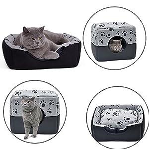 Maison Lit Pliable pour Chat et Chien, Panier Doux Chaud Imprimé pattes Pet Matelas confortable
