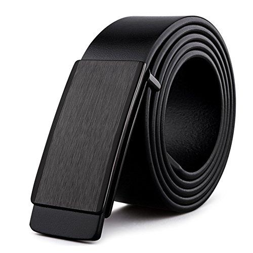 HOADOAOIFSA Cintura uomo,Vera pelle Parallela fibbia Smart Casual BusinessCintura-nero-A 120cm(47inch)