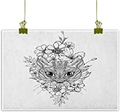 QIAOQIAOLO Pop Art Oil Painting Doodle Business Gift Abstract Hand Drawn Image of a Cat with Elements from Many Cultures Flowers Lines W24 x L20 Black White