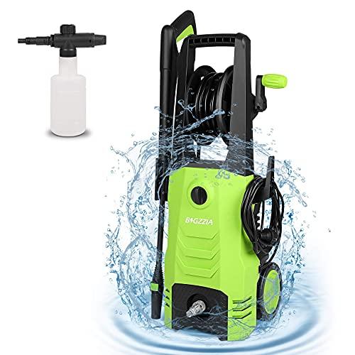 bigzzia 2000W Hochdruckreiniger mit Schlauchtrommel (Hochdruckpistole, SchaumGießkanne, Transparenter Wasserfilter, 5 m Schlauch, 5 m Kabel, MaxDruck: 165 bar, Fördermenge: 510 l/h) (Green)