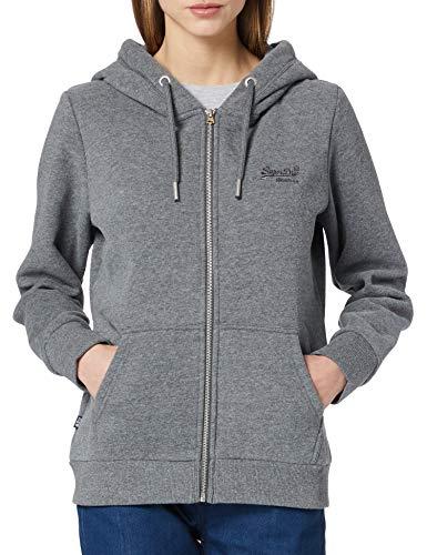 Superdry Womens OL Classic Ziphood Hooded Sweatshirt, Dark Marl, XL