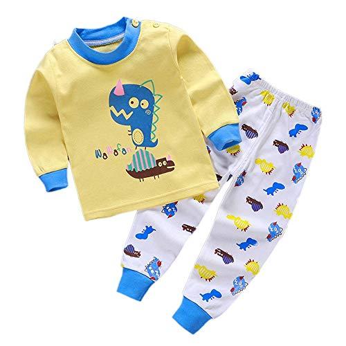 CVBN Conjunto de Pijamas para niños Pijamas para niños con patrón de Dibujos Animados de algodón Suave, Dinosaurio Amarillo, 90cm