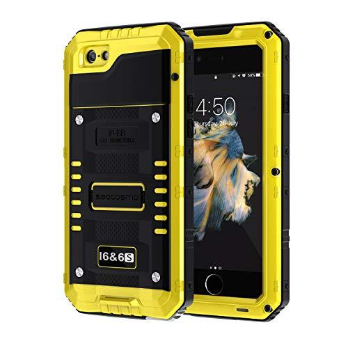 seacosmo iPhone 6 Wasserdicht Hülle, Militärstandard Schutzhülle mit Eingebautem Displayschutz Stoßfest Metall Handyhülle für iPhone 6s, Gelb