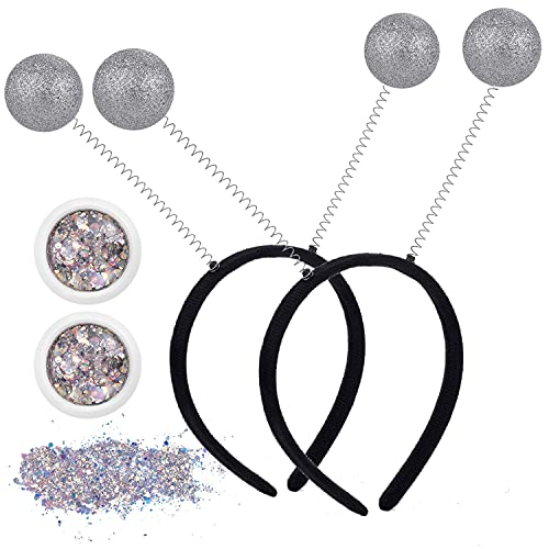 U-Zomir 2PCS Silver Martian Antenna Headband Alien Headband Glitter Ball Boppers & 2PCS Silver Holographic Chunky Glitter Alien Costume Accessory Party Favors for Everybody