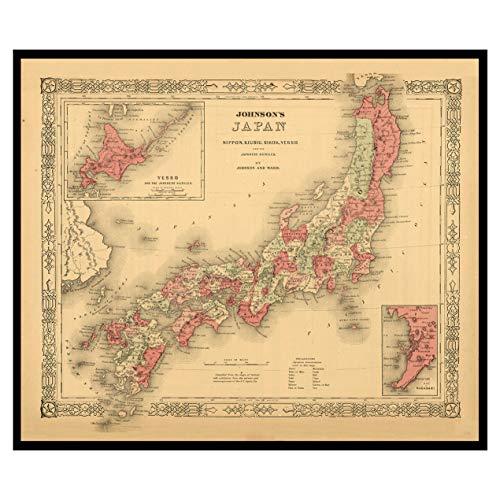 Old Maps Library-Mapa de reproducción vintage de la biblioteca de mapas antiguos de JAPÓN 1864. Parte trasera de lino, mapa plegado., 41x49