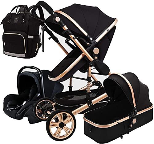 Chilequano Sistema de Viaje de Carro de bebé para bebés portátil, Silla 3 en 1 con Mochila de Bolsa de pañales, colchón Ligero Establecido hasta 25 kg Desde el Nacimiento