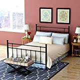 Bed Frame Full Platform with Vintage Headboard and Footboard Made of Sturdy Metal No Squeaky Premium Steel Slat Support Black