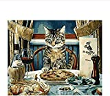sdfgea g by Number Paint Number Kits Abstract Dinner Cat Paint by Numbers Set LS-No Frame-40x50cm