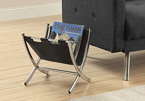 Monarch Specialties Magazine Rack - Newspaper Holder - Metal/Faux-Leather (Black)
