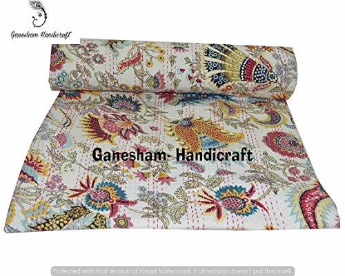 Couvre-lit indien hippie gitane style ethnique vintage Kantha, couverture indienne, literie bohème, couvre-lit bohème, couvre-lit pour enfants, literie Kantha, drap de lit, couvertures bohème indienne literie