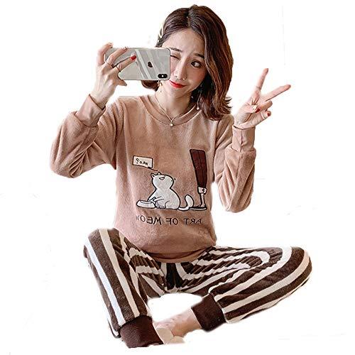 DFDONG Pajama Sets for Women Fleece Pyjama Damen Flanell Pyjama für Damen warme Damen Pyjama Nachtwäsche Cartoon Damen Pyjama Sets Herbst Winter Pyjama Kaffee Cat-L