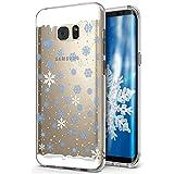 Kompatibel mit Galaxy S6 Edge Plus Hülle Schutzhülle Hülle,Durchsichtig Xmas Christmas Snowflake Weihnachten Schneeflocke Hirsch Klar TPU Silikon Handyhülle Schutzhülle,BlauweißSchneeflocke