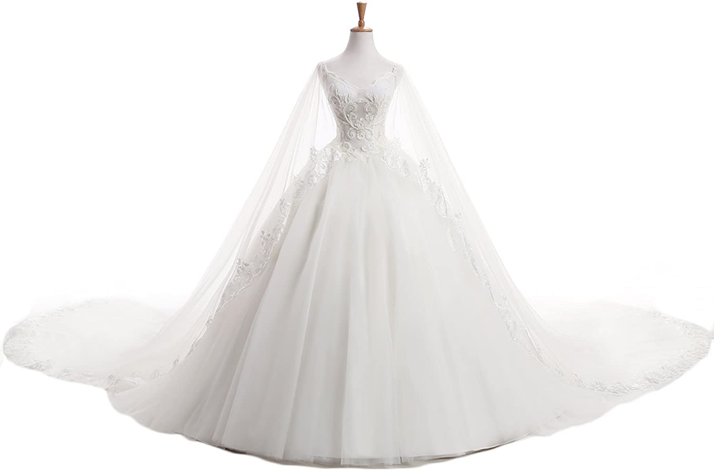 YSMei Women's Long V Neck Beading Wedding Dress Bakless Bridal Gowns Train 41804