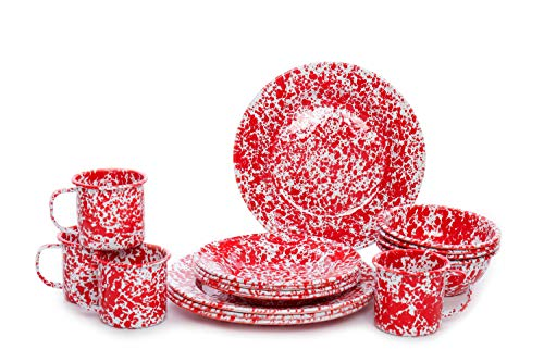 Enamelware Starter Set, 16 piece, Red/White Splatter