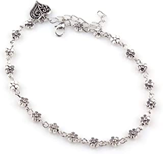 Shining Diva Fashion Oxidised Silver Floral Single Stylish Anklet for Women & Girls(Silver)(9575b)