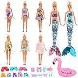Miunana 25 vestiti a sirena per bambole Barbie = 4 costume da bagno + 1 accappatoio + 2 vestiti da sirena + 1 anello galleggiante + 1 asciugamano + 8 scarpe + 8 accessori per bambole da 11,5 pollici