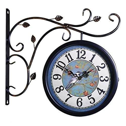 Reloj de Doble Cara de Hierro Estilo Europeo Reloj silencioso para Sala de Estar Patio montado en la Pared Reloj Retro Reloj de Escalera (Color : Black b, Size : 16 Inches)