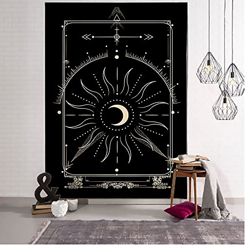 QAWD Dorado Negro Sol Luna Tarot Card Mandala Tapiz Colgante de Pared Brujería Hippie Tapiz Escena psicodélica Tapiz A11 150x200cm