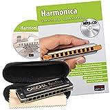 CASCHA Harmonica set pour apprendre, l'harmonica en do majeur diatonique, avec livre en anglais, étui et drap d'entretien, idéal pour débutants et adultes
