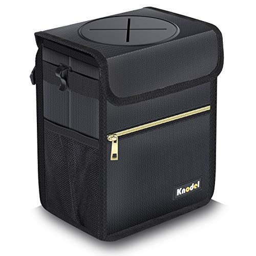Knodel Car Trash Can with Lid, Leak-Proof Car Garbage Can with Storage Pockets, Waterproof Auto Garbage Bag Hanging for Headrest