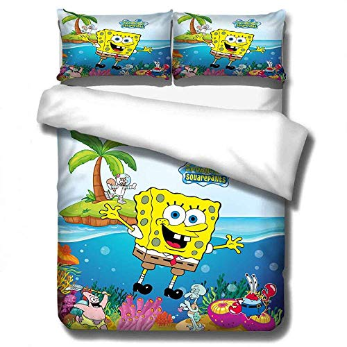 AmenSixye SpongeBob SquarePants Cartoon Bedding Set Duvet Covers Bed Linens Pillowcases Comforter Bedding Sets Bedclothes Bed Linen,140x210cm(2pcs)