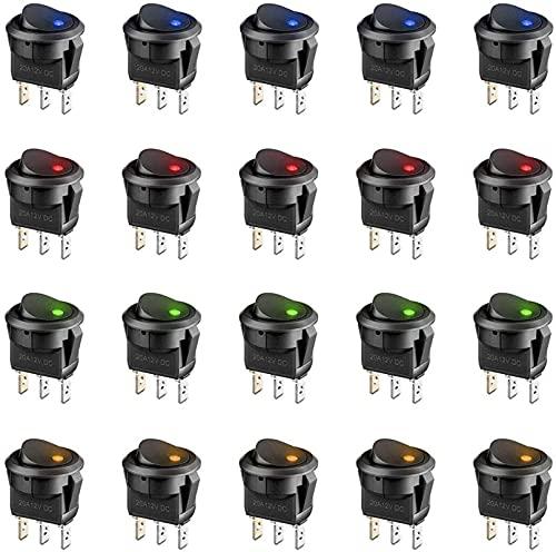 SHIYONG 20Pcs 3 Pin 12V 20A Coche Camión Rocker Interruptor LED de Palanca Redonda Control de Encendido y Apagado Azul Verde Amarillo Rojo