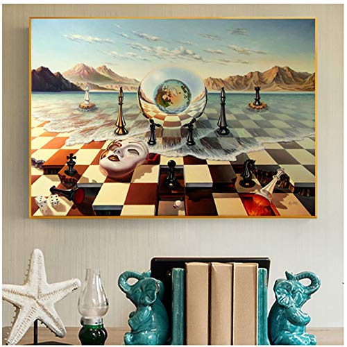 Vektenxi Salvador Dali Surrealism Chess Mask On Sea Canvas Prints Painting On Wall Art Abstract Weird Posters Picture Home Decor Cuadros-70x105cm No Frame