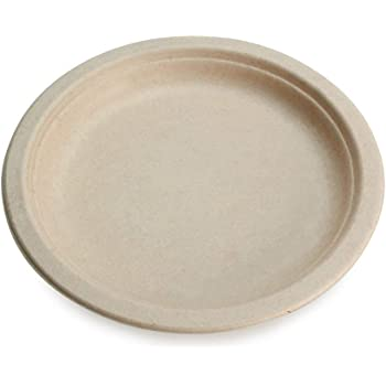 "Earth's Natural Alternative ECOP005pk50 Eco-Friendly, Natural Compostable Plant Fiber 10"" Plate, Natural, 50 Count"