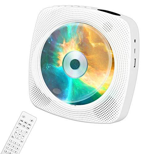 sans Fil Lecteur CD Ippinkan Lecteur CD Portable avec Baterrie Intégrée 4000mAh et Haut-Parleur HiFi CD Lecteur Mural Rechargeable avec Télécommande Support Bluetooth Radio FM Audio 3,5mm SD Carte