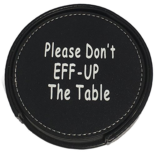Drink Coasters Set Housewarming Gifts - Funny Gag Gift For Table, Bar And Furniture Protection - Leather Coaster For Beer, Wine, And Glass Bottles