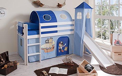 lifestyle4living Hochbett für Kinder in weiß-blau mit Rutsche, Turm und Vorhang im Piraten Motiv | Spielbett aus Kiefer Massivholz mit Einer Liegefläche 90x200 cm
