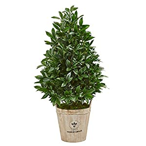 Nearly Natural 39-in. Bay Leaf Cone Topiary Artificial Farmhouse Planter Silk Trees, Green