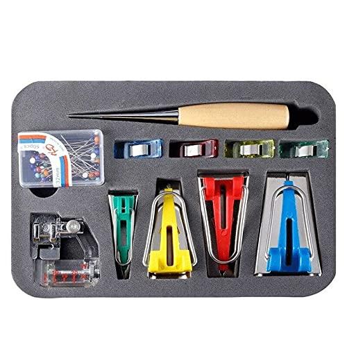 Juego de 60 piezas de encuadernación al bies, kit de fabricantes de cintas al bies de tela, accesorios para máquinas de coser con 4 tamaños (6 mm/12 mm/18 mm/25 mm) para manualidades y bricolaje