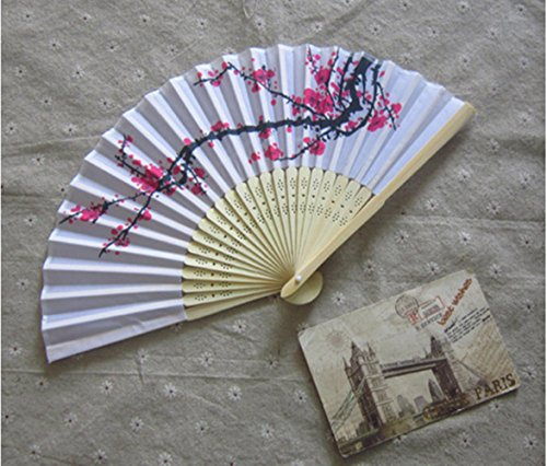 Delicate cherry blossom design silk folding fan favors [SET OF 12]