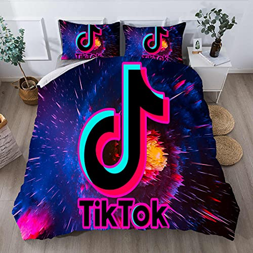 Probuk Tik Tok - Biancheria da letto con stampa 3D, copripiumino 135 x 200 cm + federa in microfibra con chiusura lampo, set di biancheria da letto per bambini e adulti (1,155 x 200 cm (80 x 80 cm)