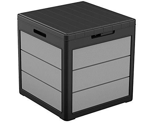 Ondis24 Keter Kissenbox Premier Box, Sitztruhe, XL Gartenbox, Outdoor Auflagenbox, Kissentruhe Garten, Sitzbank, regensicher (113 Liter)