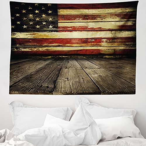 ABAKUHAUS Vereinigte Staaten Wandteppich & Tagesdecke, Vintage Flagge Holz, aus Weiches Mikrofaser Stoff Wand Dekoration Für Schlafzimmer, 150 x 110 cm, Creme & Rot