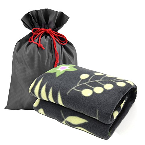 forestfish Fleece Throw Blanket Cozy Soft Portable Travel Blanket Compact for Long Car Airplane Train Rides 60  x 40 , Flower