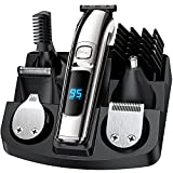 Hair Clippers for Men, Beard Trimmer Clippers for Hair Cutting,IPX7 Waterproof Professional Facial/Body/Nose Hair Trimmer,Rechargeable LED Display Beard Grooming Kit Cordless Clippers for Kids/Barber